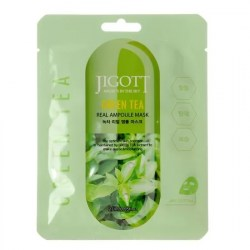 Jigott Маска-салфетка Real Ampoule Mask  Mask Green Tea (Зеленый чай), 27 мл